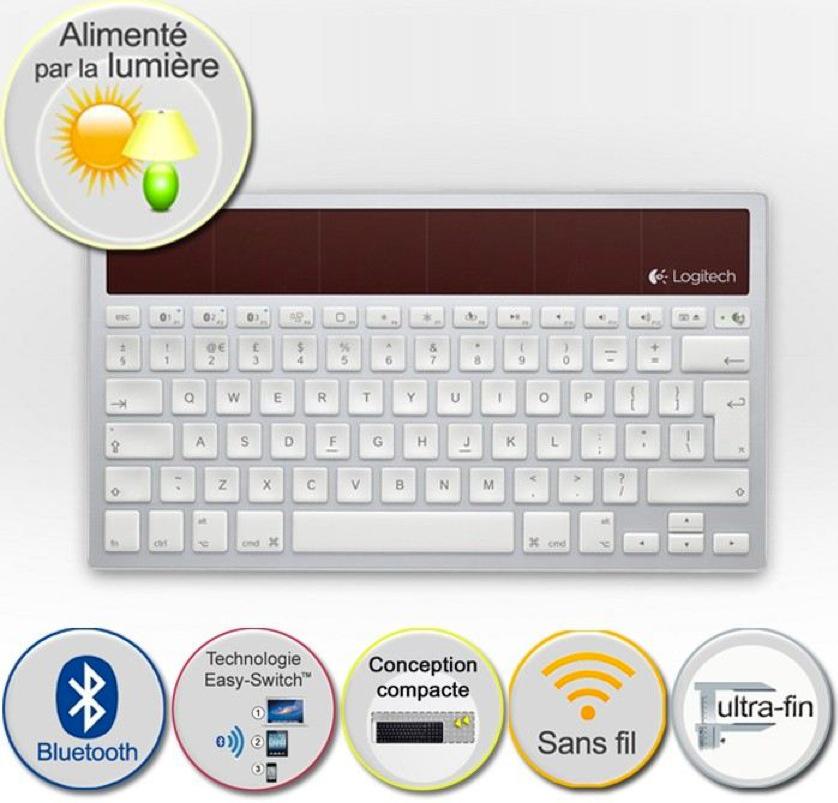 Clavier sans fil solaire bluetooth Logitech K760 pour Mac / iOS