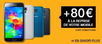 [Offre adhérent] 80€ de remise sur le Samsung Galaxy S5 pour la reprise d'un mobile (avec ODR de 70€) soit