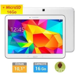 Tablette Samsung Galaxy Tab 4 10'' Blanche + carteSD 16Go + Etui/Clavier Kensington (avec ODR 30€)