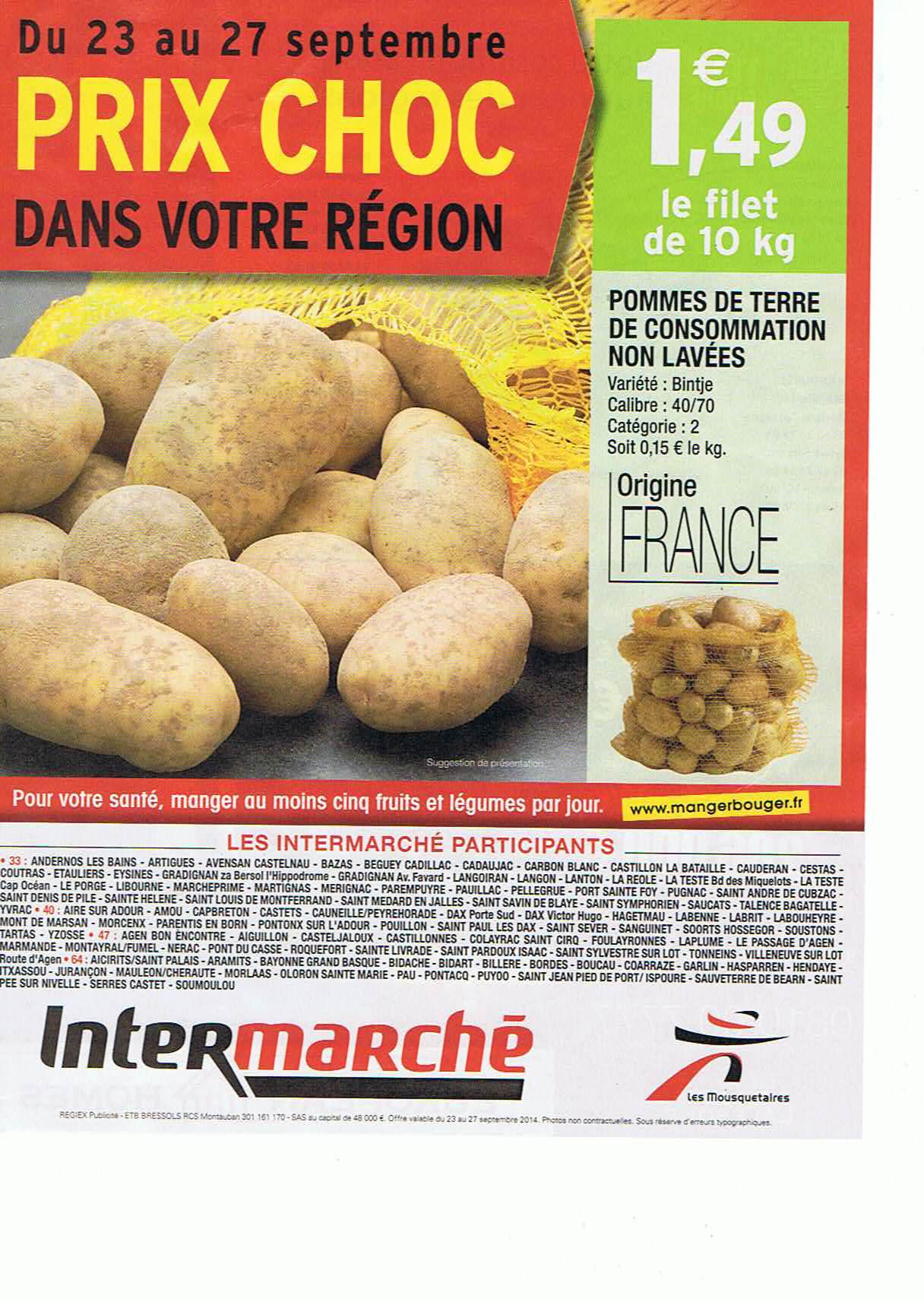 Pommes de terre Bintje 10Kg