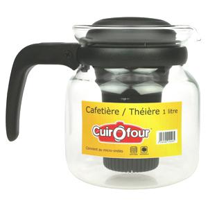 Déstockage Accessoires caravanes, campings, vacances, maison - Ex : Cafetière/Théière 1L en verre borosilicate (micro-ondable)