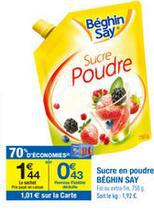 Sachet de sucre en poudre Béghin Say gratuit