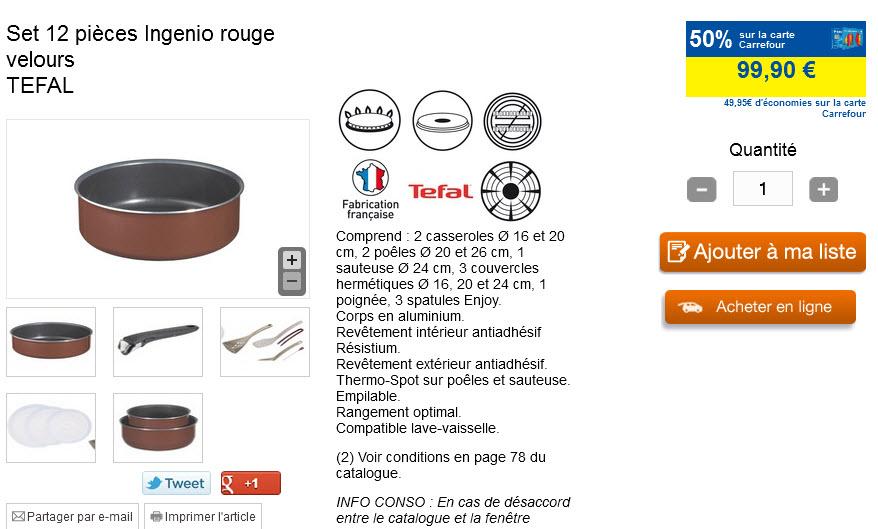 Set 12 pièces Ingenio rouge velours TEFAL (50 % sur la carte)