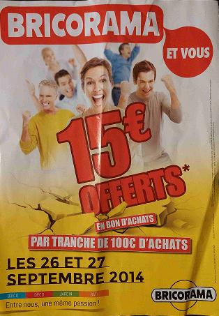 15€ offerts en bon d'achats par tranche de 100€ d'achats en magasin