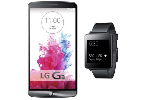 Smartphone LG G3 16 Go Blanc + Montre connecté LG G Watch (Avec ODR 100€)