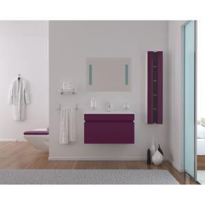 Meubles salle de bain Alba (Meuble simple vasque + miroir + colonne) - Violet