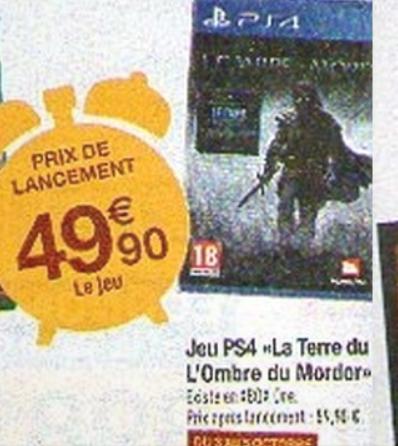 Jeu PS4  : La Terre du Milieu L'ombre du Mordor en ligne et