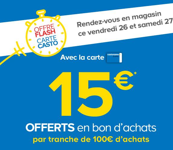 15€ offerts en bon d'achats par tranche de 100€ d'achats avec la carte Castorama