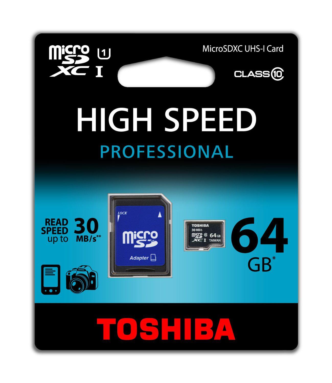 MicroSD Toshiba 64Go - 30 MBs - avec adaptateur