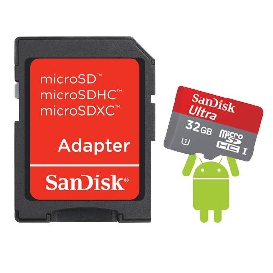 Carte Mémoire SanDisk Ultra MicroSDHC 32Go Classe 10 - 30Mo/s + Adaptateur SD + livraison gratuite