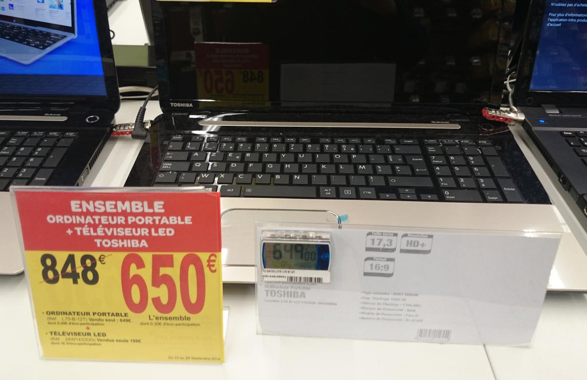 Pack PC Portable Toshiba Satellite L70 + TV Toshiba 24W1433DG