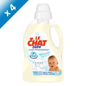 Lot de 4 bidons de lessive Le Chat liquide bébé 1er âge 1,5L