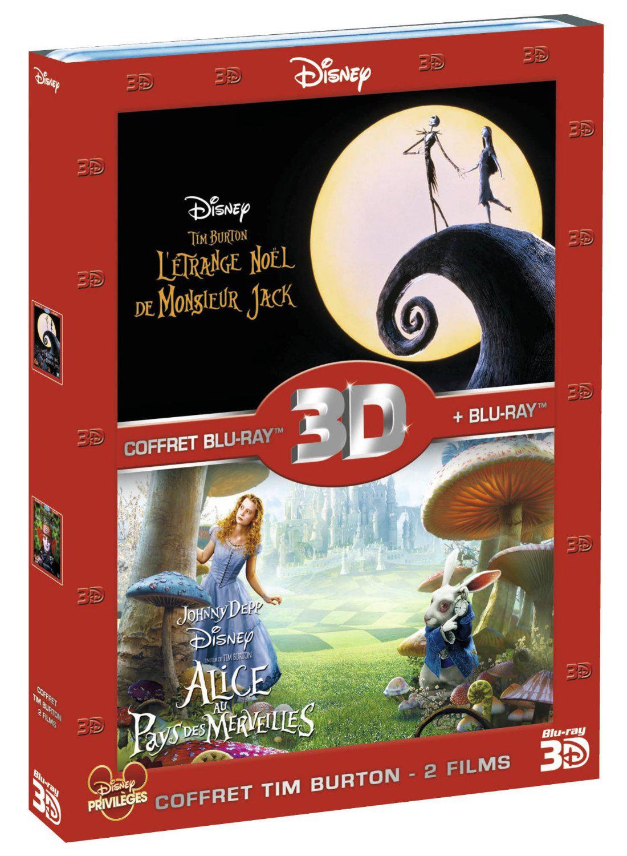 Coffret 2 Blu-ray 3D Tim Burton: Alice au pays des merveilles + L'étrange Noël de Mr. Jack