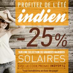 25 % de remise sur une sélection de lunettes de soleil