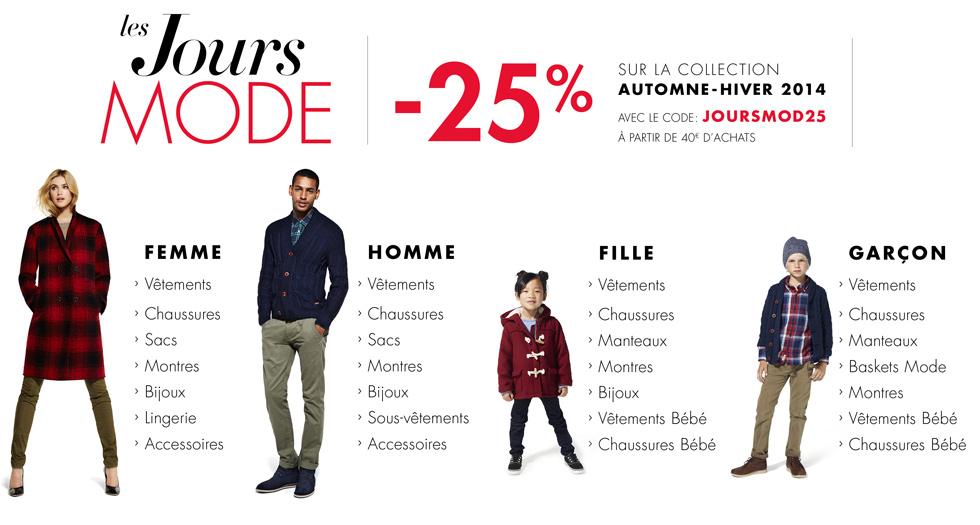 -25% dès 40€ d'achats sur la collection automne-hiver 2014