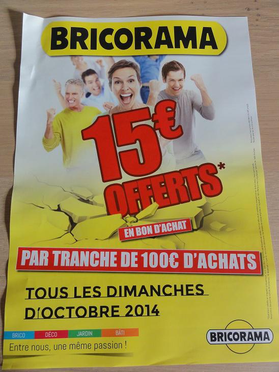 15€ offerts en bon d'achats par tranche de 100€ d'achats tous les dimanches d'Octobre