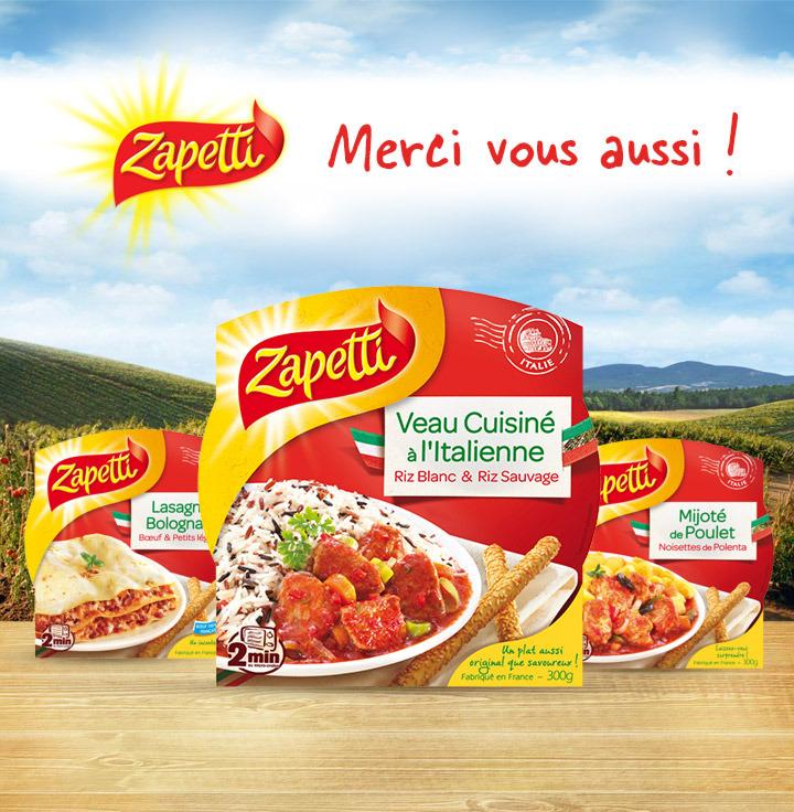 Plat cuisiné Zapetti (huit variétés) via shopmium