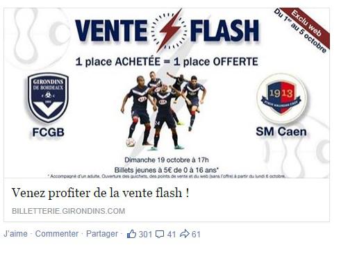 Match Bordeaux / Caen Dimanche 19 octobre à 17H : Un billet acheté = Un offert
