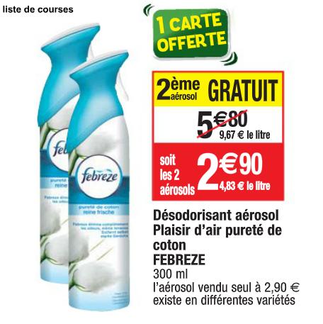 2 désodorisants aérosols Febreze Plaisir d'air pureté de coton