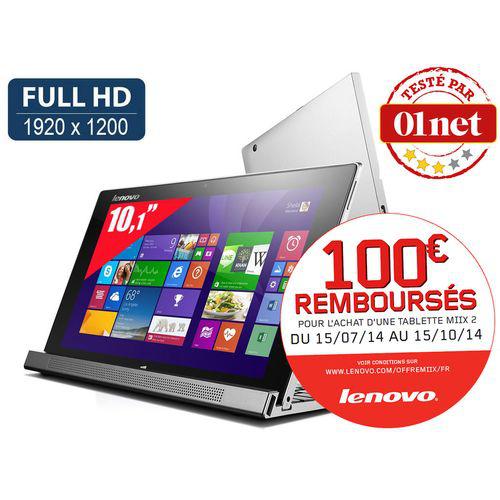 "Tablette 10"" Lenovo Miix 2 - Full HD - Intel Atom Z3740 -  Windows 8.1 + Dock clavier (avec ODR 100€)"