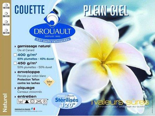"""Couette luxe Drouault """"Plein Ciel"""" 40% duvet oie et canard / 60% plumettes"""