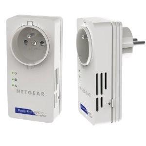 Pack de 2 adaptateurs CPL Netgear XAVB5601-100FRS Ethernet Powerline 500 Mbit/s avec prise femelle intégrée