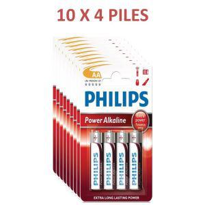 Lot de 10 packs de 4 Piles (soit 40 piles) AA PowerLife Battery