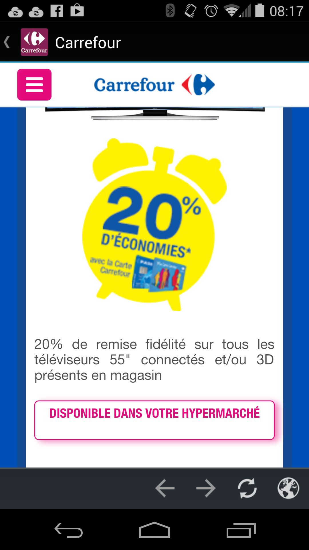 """20% sur la carte fidélité sur les téléviseurs 55"""" connectés et/ou 3D"""