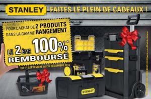 STANLEY 2 produits achetés dans la gamme rangement, le 2e remboursé à 100%