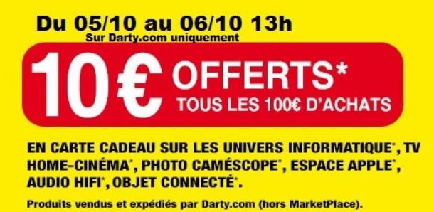 10€ offerts en carte cadeau par tranche de 100€ d'achats sur une sélection d'articles