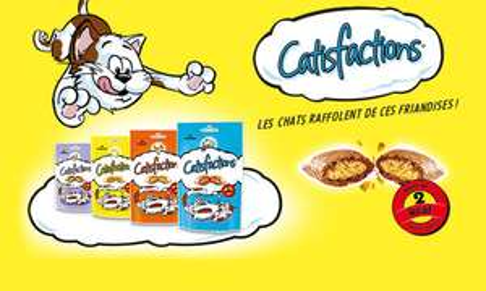6 coupons de 0.50€ (pour l'achat simultané de 2 produits) sur les friandises pour chat Catisfactions