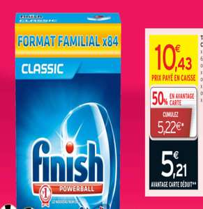 finish powerball format familiale (84 tablettes) - 50% sur carte