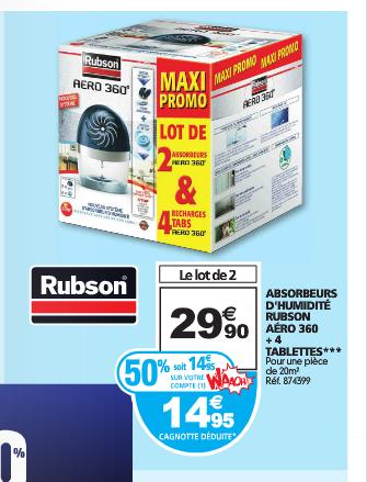 Lot de 2 Absorbeurs d'humidité Rubson Aéro 360 + 4 Recharges (Avec 14.95€ sur la carte Waaoh + ODR de 13€)