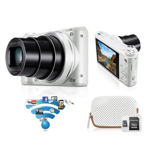 Pack Appareil photo Smart Samsung Camera WB252F - Blanc + Housse + Carte Micro SD 4Go