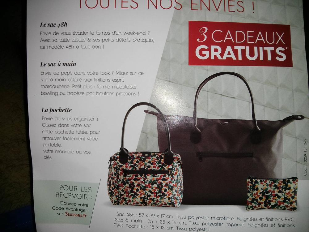 Set de bagagerie (cabas, sac, pochette) offert pour toute commande sans minimum d'achat