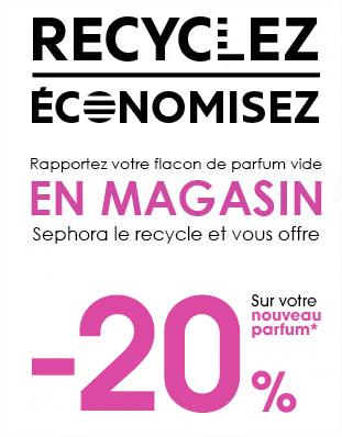 Recyclage flacon de parfum vide = -20% sur votre nouveau parfum