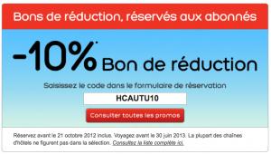 10 % sur votre reservation d'hotel