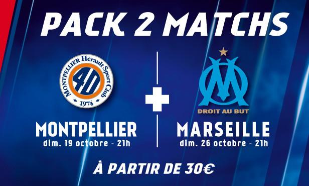 Places pour les matchs OL/OM dimanche 26 oct. à 21h et OL/Montpellier dimanche 19 oct. à 21h,