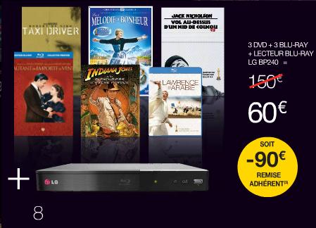 [Offre adhérents] 3 Blu-ray + 3 DVD + Lecteur Blu-ray LG BP240