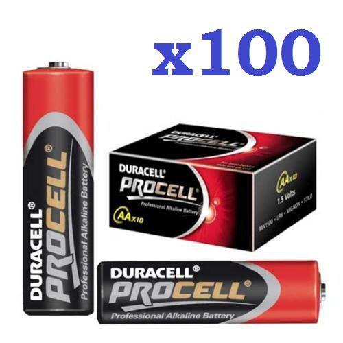 Lot de 100 Piles - Duracell Procell - LR6 AA (3.5 € les 10 Piles)