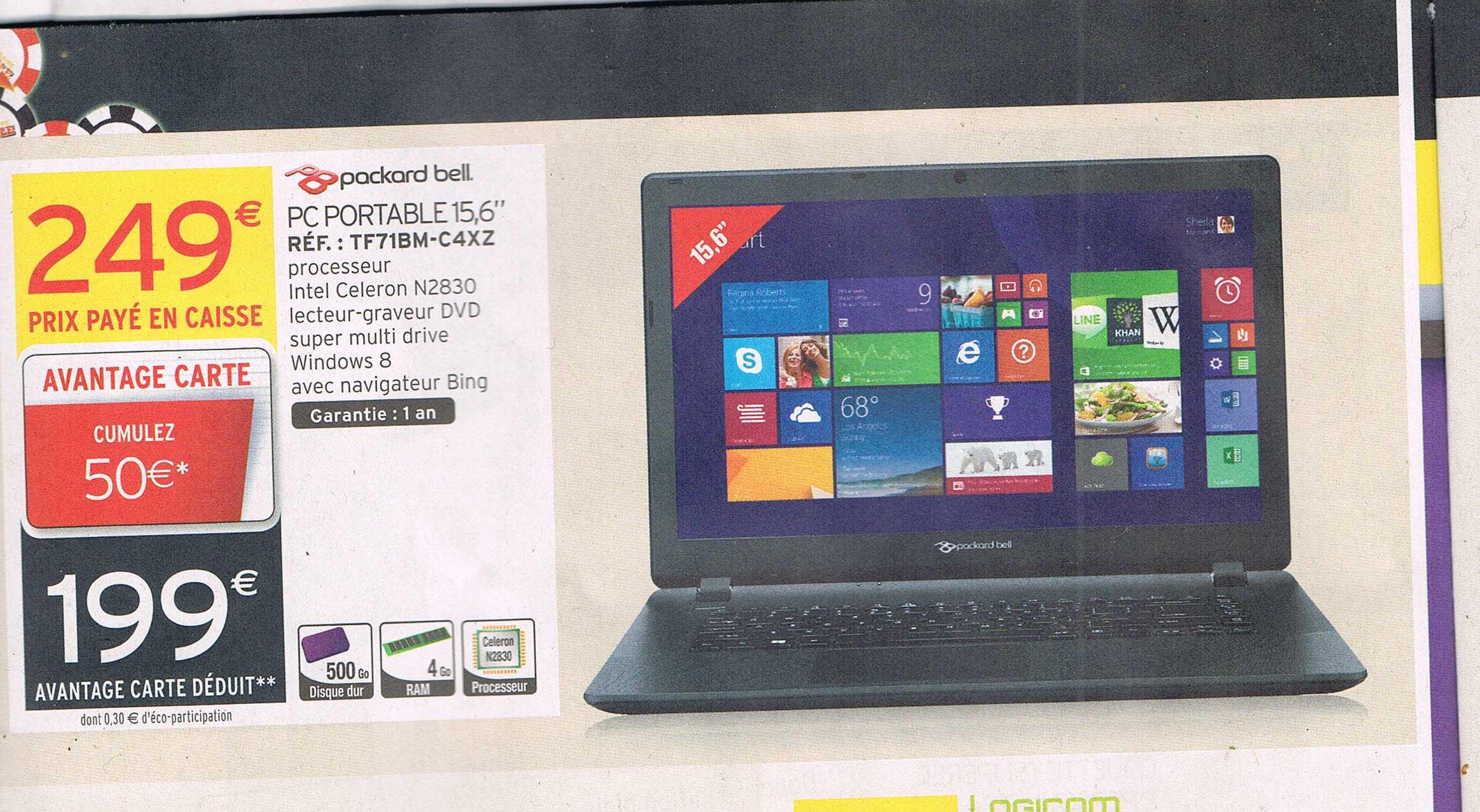 Pc Portable Packard Bell  TF71BM-C4XZ  (dont 50€ sur la carte fidélité)