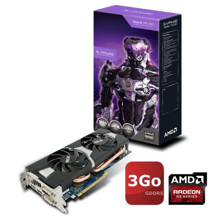 Carte graphique Sapphire AMD Radeon R9 280 3Go GDDR5 DUAL-X OC + 3 Jeux