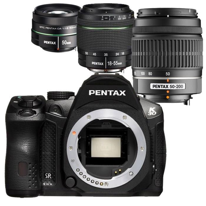 Appareil photo reflex Pentax K30 Noir + 3 objectifs ( 18-55mm, 50-200mm et 50mm)