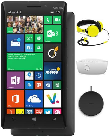 Smartphone Nokia Lumia 930 + Chargeur sans-fil DT60 + Enceinte sans fil MD 12 + Casque Coloud Knock
