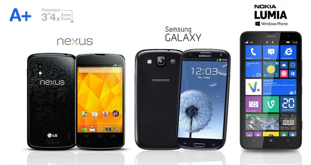 Smartphone Samsung Galaxy S3 4G ou Nokia Lumia 1320 ou Nexus 4 - Reconditionné (Grade A+)