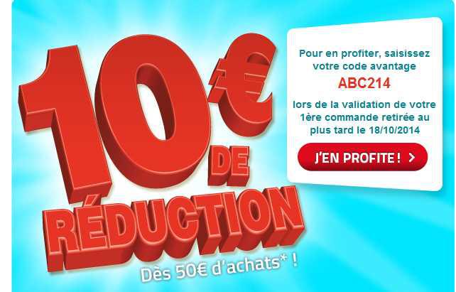 10€ de réduction dès 50€ d'achat