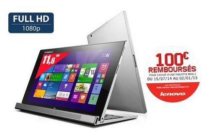 "Tablette Hybride Lenovo MIIX 2 - 11,6"", Core i5, RAM 4Go, SSD 256Go (100€ ODR) + 120€ de bon d'achat"