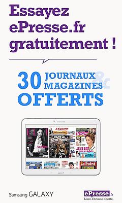 30 journaux et quotidiens offerts (= 2 mois d'abonnements) sur Android