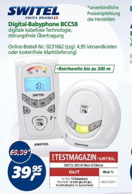 Babyphone Switel BCC 58 (sans ondes + Indicateur température)
