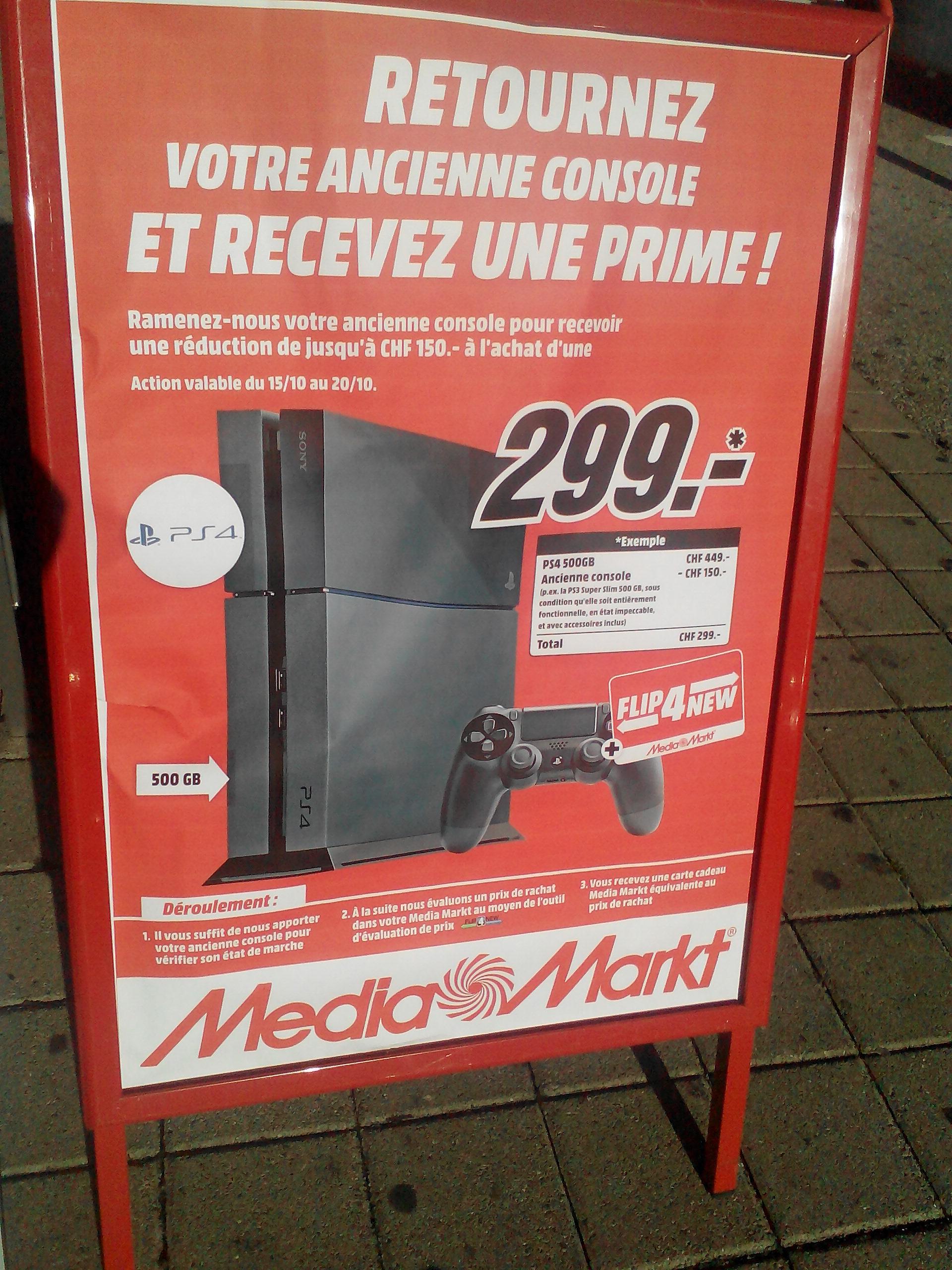 Reprise de votre PS3 pour 120€, soit la console PS4 500 Go + une manette